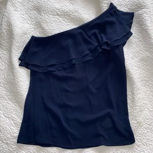 Navy One Shoulder Ruffle Blouse